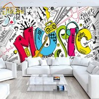 Atacado-Custom 3D Abstract Musical Crianças Quarto Graffiti Grande Mural Café Restaurante Bar Quarto Streets Rock Non-woven Wallpaper