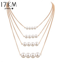 Wholesale Body Chain Pearl Jewelry - Wholesale- 17KM Trendy Multilayer Link Chain Necklace Alloy Gold Color simulated Pearl Necklace Summer Fashion Jewelry Body Chain Women