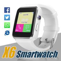 kutu yuvaları toptan satış-X6 Akıllı İzle Kavisli Ekran Smartwatches Destek Kamera SIM Kart TF Kart Yuvası Android Smartphones Için Kutusunda Smartwatch
