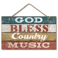 God Bless Country Plate di legno musicale, segno di segno occidentale segno segno di placca 9.5