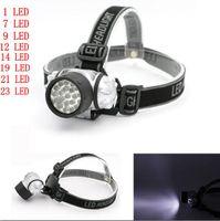 Wholesale 1w Head Light - 1W 7 9 12 14 19 21 23 LED Headlamps Headlight Flashlight Torch Lamp 4 Models Head Fishing Light AAA Battery