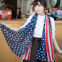 Wholesale Stars Stripe Chiffon Scarf - Scarves American Flag Pentagram Chiffon Scarf Fashion Scarves USA Flag Scarf Patriotic Stars and Stripes American flag Scarf for women Wrap