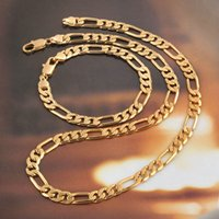 """Wholesale Mens Figaro Chain Bracelet - Mens Womens Jewelry 18k Yellow Gold Filled Necklace Bracelet Set Figaro Curb Chain Set (24""""+9"""")"""