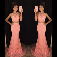 Wholesale Delicate Mermaid - Delicate Lace Mermaid Evening Dresses 2017 Hot Two Pieces Halter Neck Hunter Green Pink Long Prom Gowns Women Special Occasion Party Dress