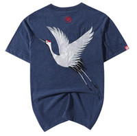 Wholesale Long Sleeve Tattoo Shirt Men - 100% Cotton Mens Casual Tee Short Sleeve Shirt Japan Ukiyoe Tattoo Art Design Crane Bird Pattern Embroidered T Shirt