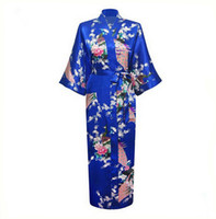 Wholesale White Satin Robe Wholesale - Wholesale- Blue Plus Size XXXL Chinese Women Satin Robe Gown Japanese Geisha Yukata Kimono Bathrobe Sexy Sleepwear Flower Nightgown A-029