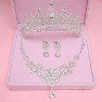Wholesale Cheap Nail Jewelry - Crown Wedding Accessories Necklace  earrings Crown Luxury Bridal Headpieces cheap Wedding Fascinators Bridal Jewelry Two Style clip Nail