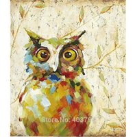 Wholesale modern art christmas canvas resale online - 2016 New Design Cute Night Owl Oil Painting Fashion Modern Wall Art on Canvas Decorative Pictures Home Decor Christmas Gift