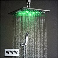 "Wholesale Wall Mounted Led Shower Faucet - 10"" LED Shower Head Thermostat Faucet Shower Set Powered by Water Rain Shower Faucet Saving Water Wall Mounted Box Chrome"