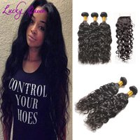 Atacado Brazilian Water Wave Hair Bundles 3pcs com fecho 4x4 TOP Quality Hair Weave Brazilian Unprocessed Virgin Hair Extensions