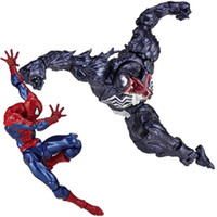 Wholesale Spider Man Series Toy - Revoltech Venom No.003 Spider Man Series No.002 Spiderman Toy Action Figure Model Gift Free Shipping