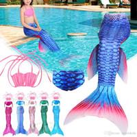 Wholesale girls swim 3t - Girls Kid Mermaid Tail 3 pcs Set Bikini Swimwear Swimming Costume Fancy Cosplay