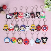 Wholesale Multi Action - Mix 100pcs lot Mickey Minnie cartoon key chains Action Figure Key ring Hanging phone Accessories,Car & bag Key Holder Kid Gift
