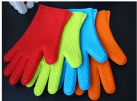 Wholesale 100pcs Kitchen Cooking Gloves Microwave Oven Non slip Mitt Heat Resistant Silicone Gloves Cooking Baking BBQ Gloves colors