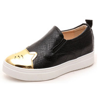 Wholesale Wholesale Platform Shoes For Women - Wholesale- 2016 Spring Autumn Women Summer Shoes Platform Wedge Loafers For Woman Slip On Shoes PU Leather Height Increased Casuals Shoes