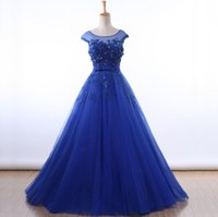 Wholesale Evening Gowns Tulle Fabric - 2017 A Line Formal Evening Dress Appliques Scoop Neck Prom Gowns Blue Fabric Free Shipping Tulle