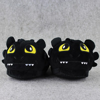 Wholesale Fury Game - 1 Pair Toothless Night Fury How To Train Your Dragon indoor Slippers Plush Shoes Warm Winter Adult Slipper Toy Christmas Gift