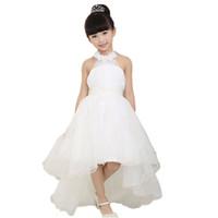 Wholesale Korean Gown For Wedding - Children's clothing girls dress 2016 Korean girls princess white lace long tail wedding kids dresses for girls