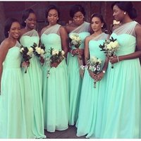 Wholesale pastel mints online - 2018 New Mint Green Cheap Chiffon Bridesmaid Dresses For Wedding Pleats One Shoulder Formal Maid Of Honor Evening Gown Custom Made