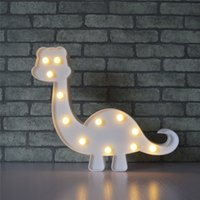 Wholesale 3d sign letters - 3D Marquee Dinosaur Night Lamp with 12 LED Battery operated Warm White Sign Letter light for Kids Bedroom Gift For Christmas Decoration
