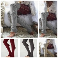 Wholesale Knee High Knit Boots - Women Winter Warm Cable Knitted Long Boot Socks Over Knee Thigh High Stockings Socks Leggings 50 Pairs LJJO2930