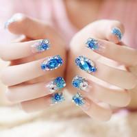 Wholesale Diamond Acrylic Powder - 24pcs blue rhinestone diamond with glitter powder Self-adhesive Artificial Cute Flash Diamond Full Cover Fake Nail Tips
