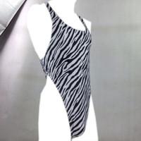 71026655adc3 Mens Thong Back Bodysuit Swim Fabric Stretchy High Cut X Crossing Back  G7284 Onesie Zebra Black white