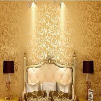 Wholesale Gold Room Wallpaper - Wholesale-3D European Gold Silver Wallpaper For Living room Sofa TV background roll papel de parede listrado