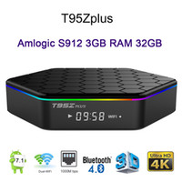 dual core android media caixa venda por atacado-T95Z Plus 3 GB DDR4 32 GB Android 7.1 caixa de TV Amlogic S912 2.4G 5 GHz Dupla WIFI 1000 M LAN BT4.0 4 K 2 GB 16 GB Inteligente Media Player Display Led T95Z +