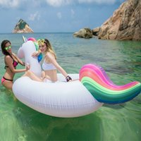 Wholesale Swimming Mattress - Inflatable Float Giant Inflatable Unicorn Pegasus Water Swimming Float Raft Air Mattress Swim Ring Ride-On Pool Toy DHL Shipping