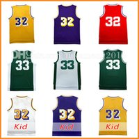 8b1387f48 Men s Magic Johnson 32 Basketball Jersey Throwback Mesh All star 33 johnson  University Jerseys Adult wholesale Embroidery Logos Youth Kids ...