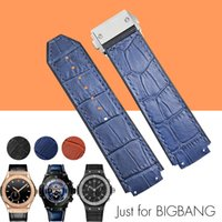 Wholesale Big Strap Leather Watch - AUTO HUBBANDS 25x19mm Watch Bands for Big Bang Sport Man Straps Rubber Stick Genuine Leather Deployment Clasp for HUB + Free Tools