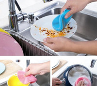 Wholesale Silicone Dish Washing Sponge Scrubber Cleaning Antibacterial Kitchen Tools Color Random Size