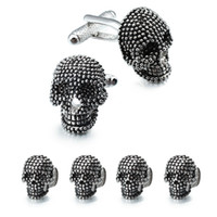 Men's black skull cufflinks - Trendy Skull Designer Cufflinks Studs Set Mens White Tuxedo Shirt Jewelry Accessories Party Best Gift Black Enamel Cuff links