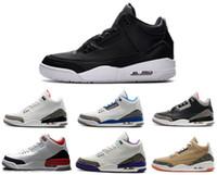 Wholesale Leather Powder - cheap air retro 3 men basketball shoes OG True Blue Dark Powder Blue Cyber Monday wolf grey sport blue Black Cement sports sneaker