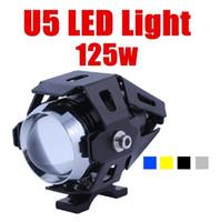 Wholesale Transformer Lights For Car - 125w 3000lm 12V -80v transformers u5 CREE LED IP68 motorcycle headlight fog lamp Laser Light For motocross offroad car