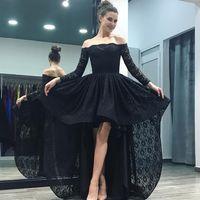 robe rose basse noire salut achat en gros de-Dentelle noire haut bas robes de bal épaule manches longues rose rose salut robes de soirée Lo Lo robes de soirée sur mesure