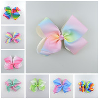 polyeste pageant hair accessories - 20pcs cm jojo Pastel flora ombre ribbon hair bows clips Prom Rainbow Striped Dance Cheerleader Pageant hair Accessories HD3476