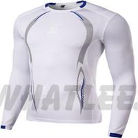 Wholesale Mma Skin - Wholesale- Men Compression MMA Rashguard Fitness Langen Armeln Shirts Base Layer Skin Tight Gewichtheben T Shirts