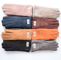 Wholesale Girls Pink Gloves - Leather gloves Female winter Sheepskin gloves True sheepskin finger outdoor thermal 9cm width mitten lovers girls Genuine leather