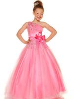 ingrosso vestiti di rosa fucsia delle ragazze-Lovely Pink Blue Fuchsia Tulle Una spalla Perle Flower Girl Dresses Princess Pageant Abiti Girl Party Abiti Custom Made 2-14 F520028
