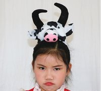 Wholesale Fun Hair Styles - Little cattle head style tiaras, headwear accessories, gift for children holiday fun,lovely little animals style hairbands for party shows