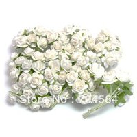 Wholesale Mulberries Flowers - Wholesale-Free shipping 144PCS LOT white Mulberry Paper Flower Bouquet wire stem  Scrapbooking artificial rose flowers