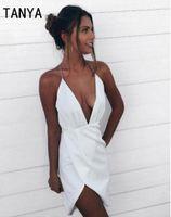 Wholesale V Neck Chiffon Fold - 2017 Halter Chiffion Short Homecoming Dresses Sleeveless Sexy Backless Fold Deep V Neck Write Comfortable Dress