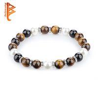 Wholesale Coupling Flexible - BELAWANG Black Onyx&Tiger Eye&Pearl Charm Couple Bracelet Beaded Strands Bracelet Fashion Anniversary Gift Free Shipping 19cm Flexible
