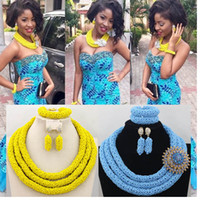 Wholesale bridal necklaces light purple - african beads jewelry set yellow blue 2018 latest dubai gold bridal nigerian wedding aso ebi styles party necklace set G01