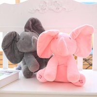 Wholesale Electric Baby Dolls - 30cm Peek a boo Electric Elephant Plush Soft Toy Animal Stuffed Doll Play Hide And Seek Cute Play Music Elephant Educational Toy