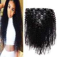 insan saç uzantıları dolu toptan satış-İnsan Saç Uzantıları Moğol Kinky Kıvırcık Saç Klip 7 adet 70g Nautral Renk Klip-Tam Kafa Olmayan remy Saç