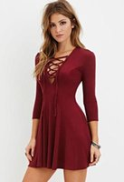 Wholesale Shape Wear Dresses - 2016 New Autumn Wine Red Front Bandage Sexy A line A shape Pleated Gothic Dress Women Teen Girls