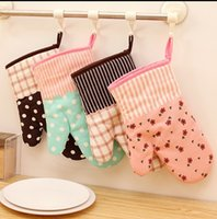 Wholesale Baking Stripes - Anti Hot Gloves Thicker Nsulation Flowers Stripe Chromatic Cotton Glove Microwave Oven Dedicated For Kitchen Cake Baking 4 2gw I R